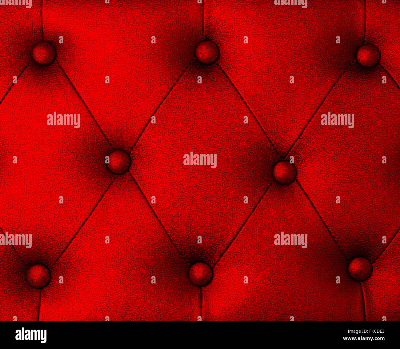Red upholstery leather pattern background - Stock Image