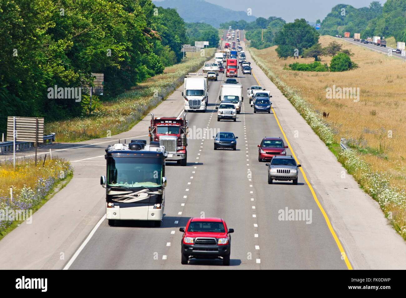 Heavy Summertime Interstate Traffic - Stock Image