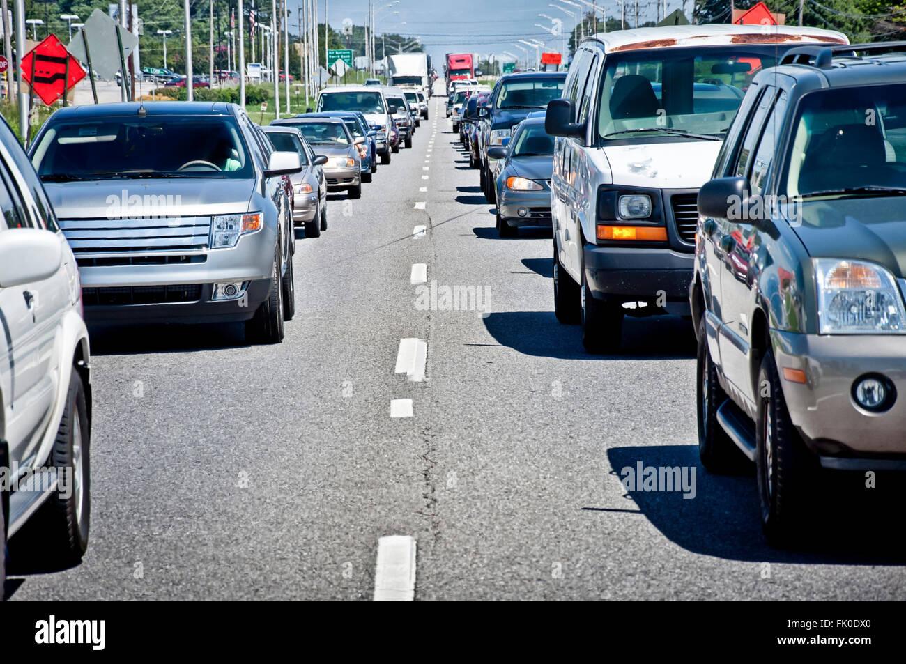 Highway Traffic Jam - Stock Image