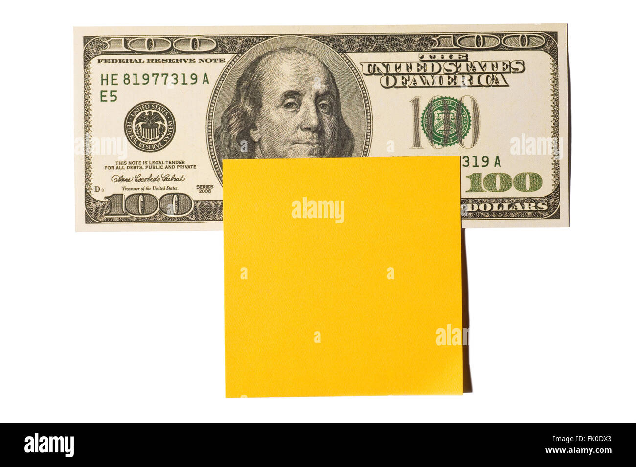 Hundred Dollar Bill With Gold Post-it Note - Stock Image