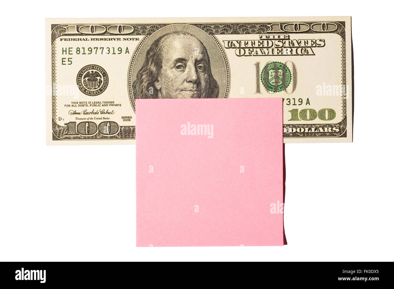 Hundred Dollar Bill With Pink Post-it Note - Stock Image