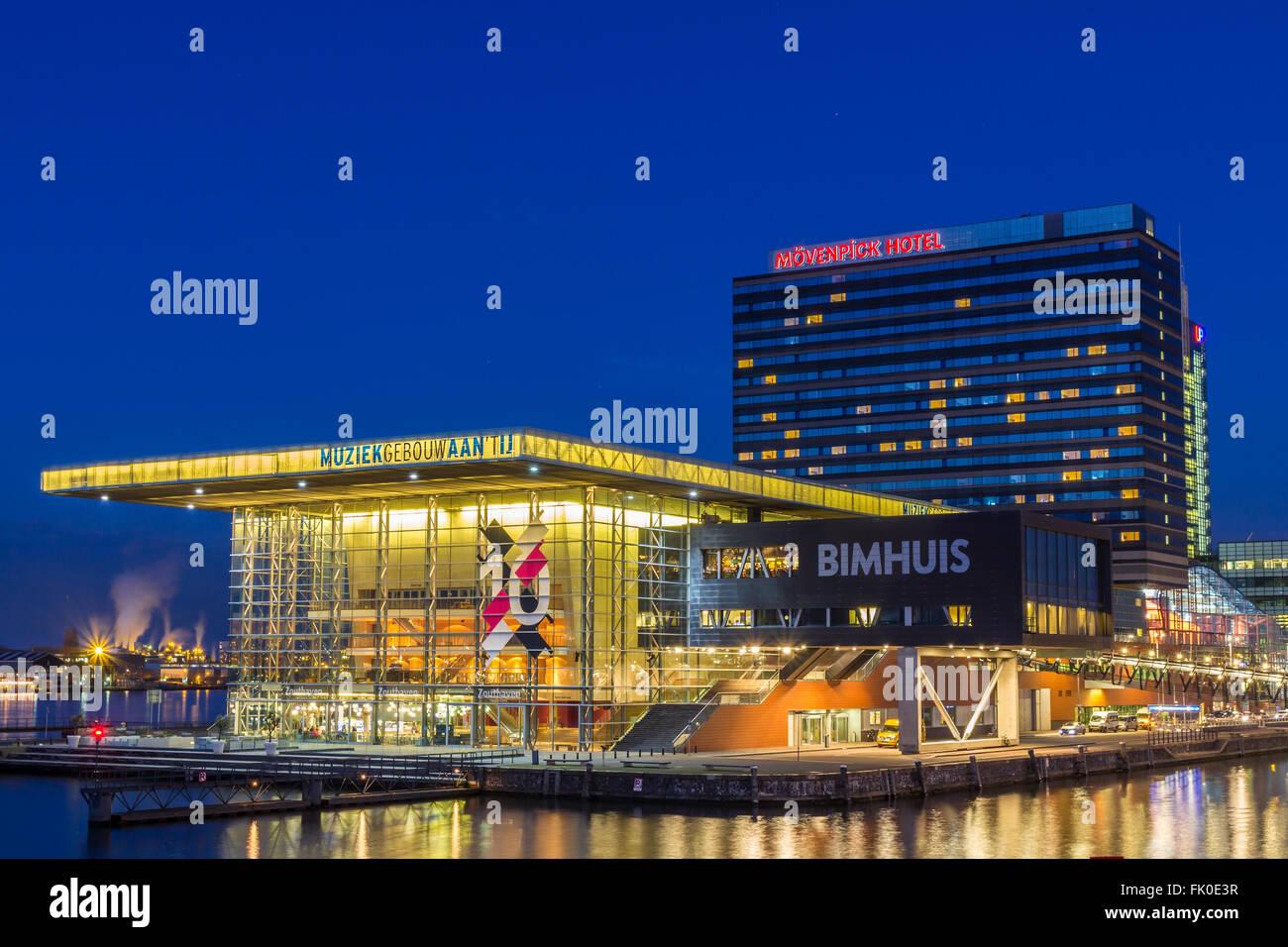 Bimhuis, movenpick hotel and muziek gebouw aan het ij in Amsterdam, the Netherlands - Stock Image
