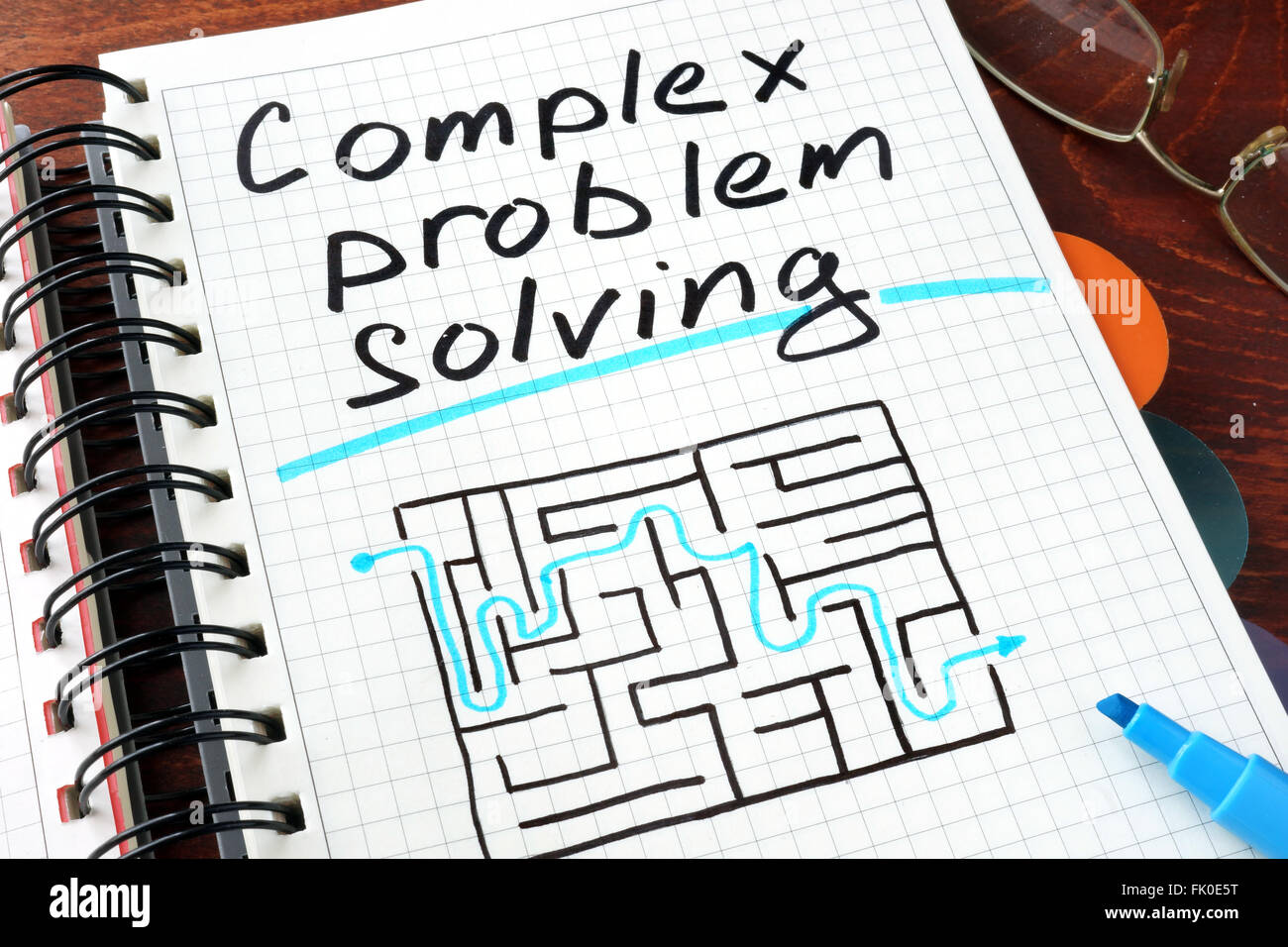Complex problem solving written on notebook. Business concept. - Stock Image