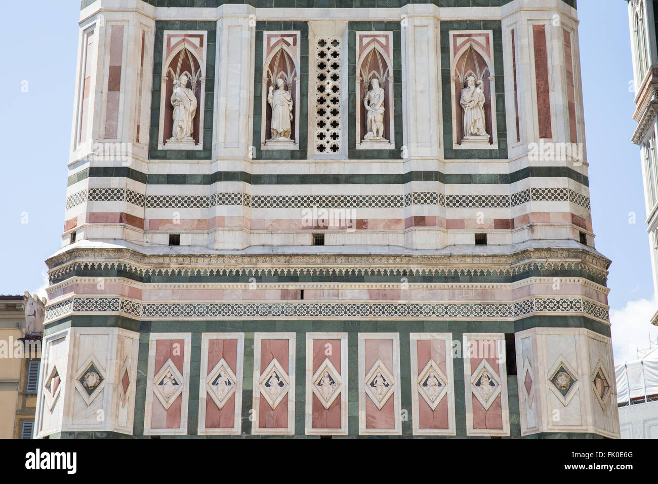 architectural detail on the giotto bell tower in florence italy