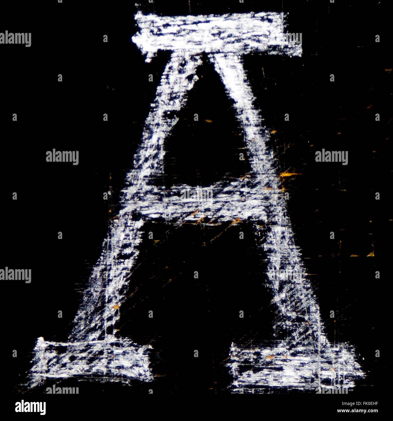 Chalkboard letter A - Stock Image