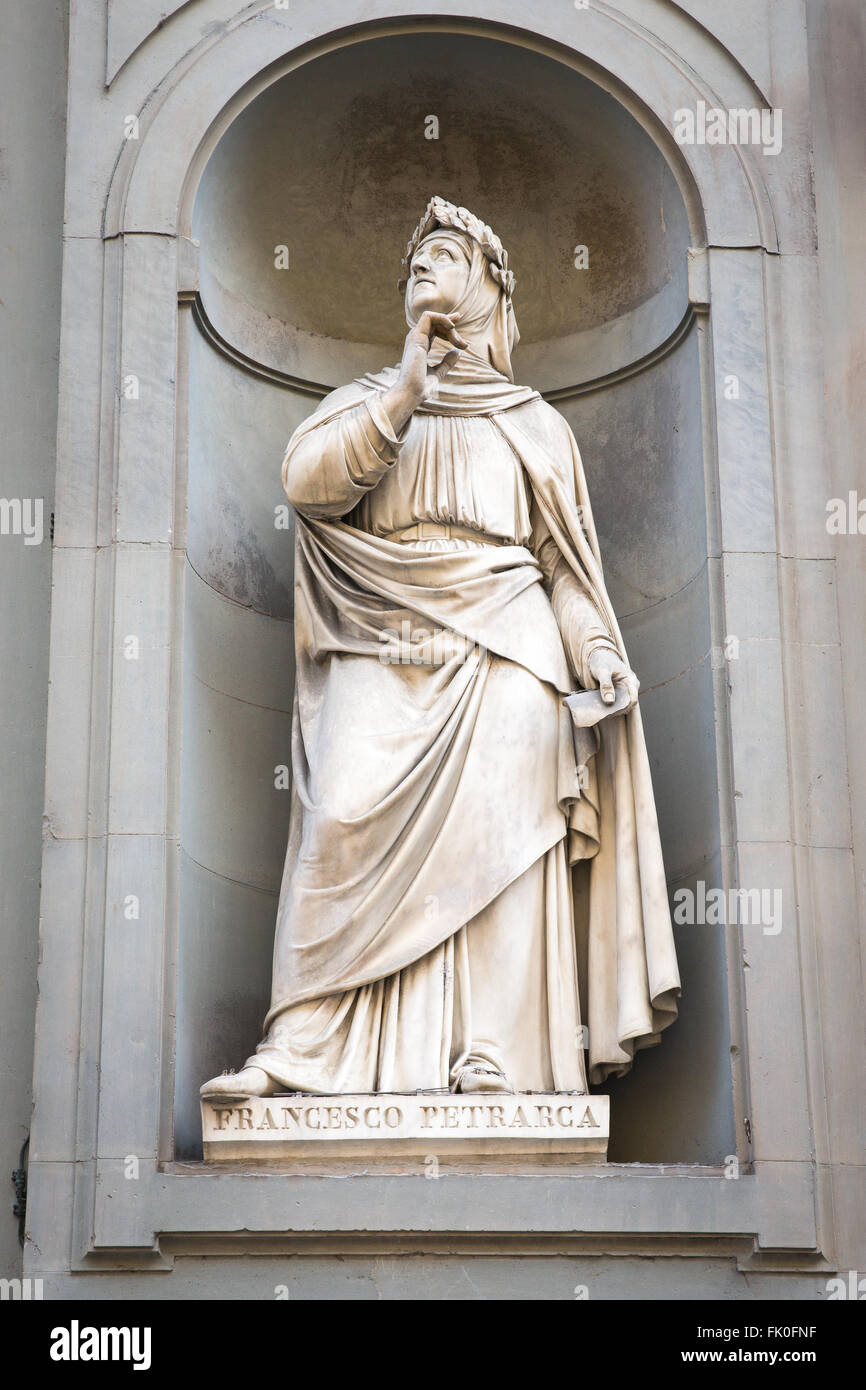 Statue of Italian poet and scholar Francesco Petrarca outside of the Uffizi Gallery in Florence, Italy. Stock Photo