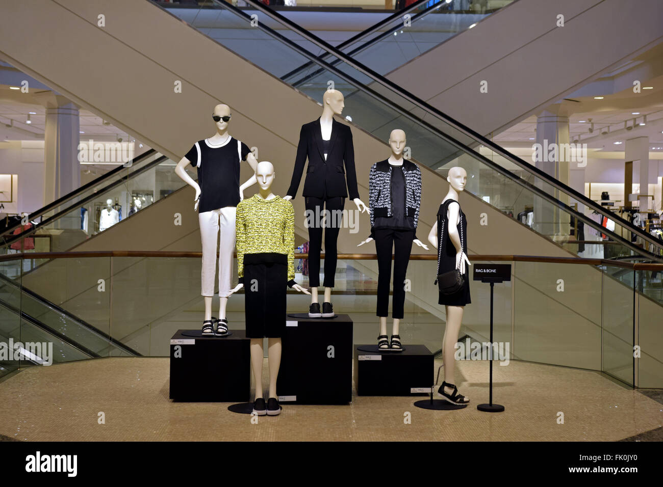 Mannequins in Rag & Bone clothes on display at Nordstrom's iat the Roosevelt Field Mall in Garden City, - Stock Image