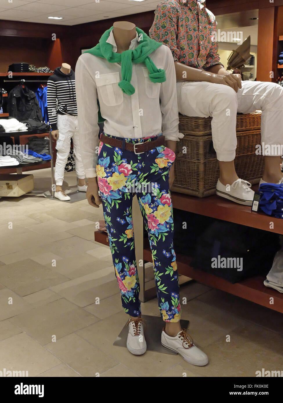 93d0110e7d A loud pair of floral men s trousers for sale at the Ralph Lauren shop in  Bloomingdale s