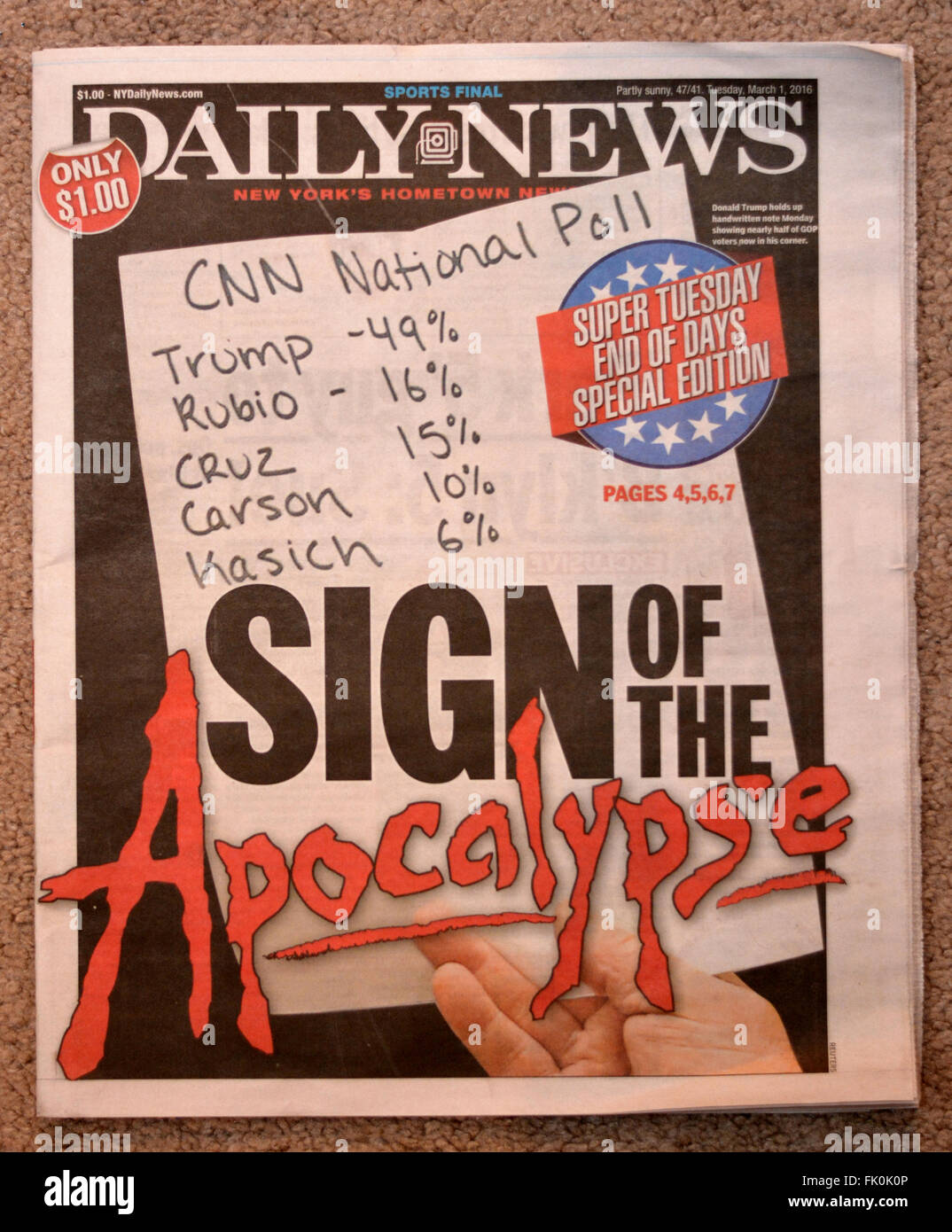 2016 headline from the New York Daily News mocking Donald Trump when he was leading in the polls prior to Super - Stock Image