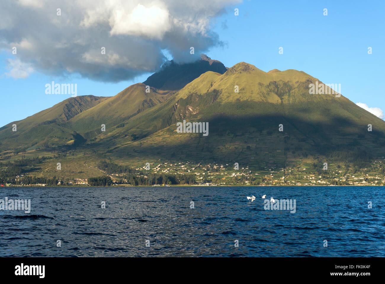 Imbabura inactive stratovolcano under the Lake San Pablo in northern Ecuador - Stock Image