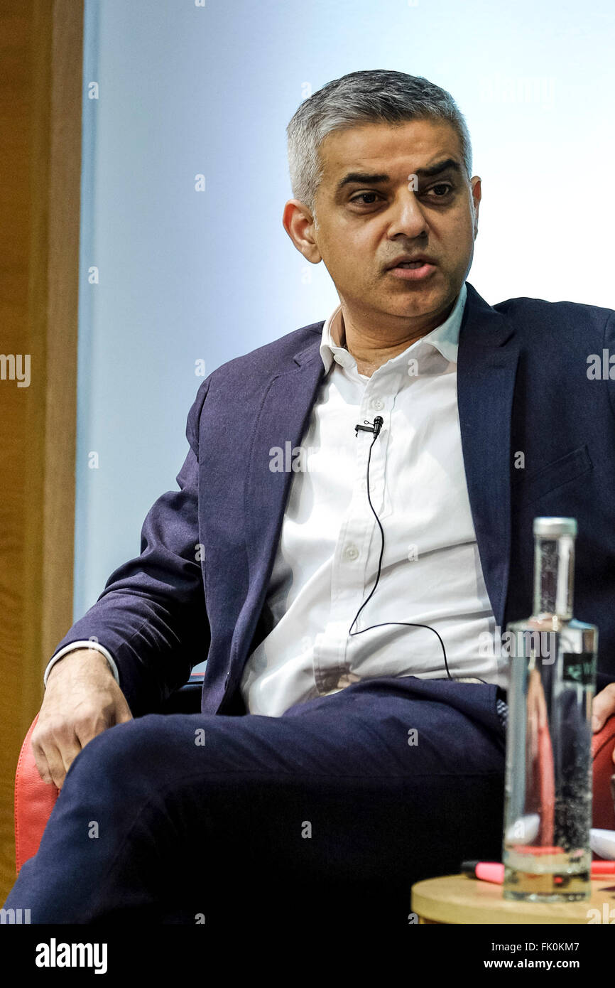 Greener London Hustings on 04/03/2016 at Royal Society of Medicine, One Wimpole Street, London. Pictured: Sadiq - Stock Image