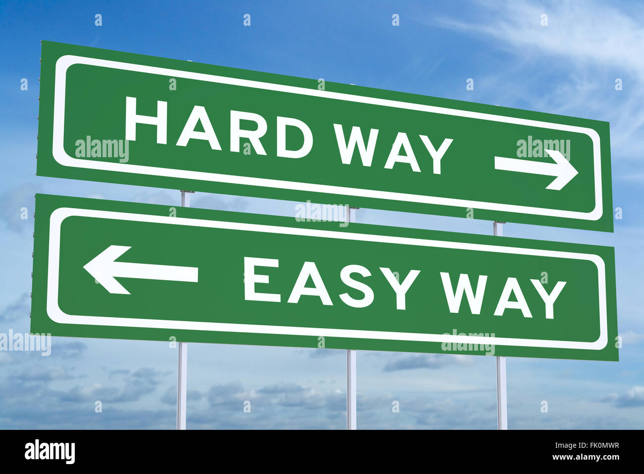 Hard way or Easy way concept on road sign - Stock Image