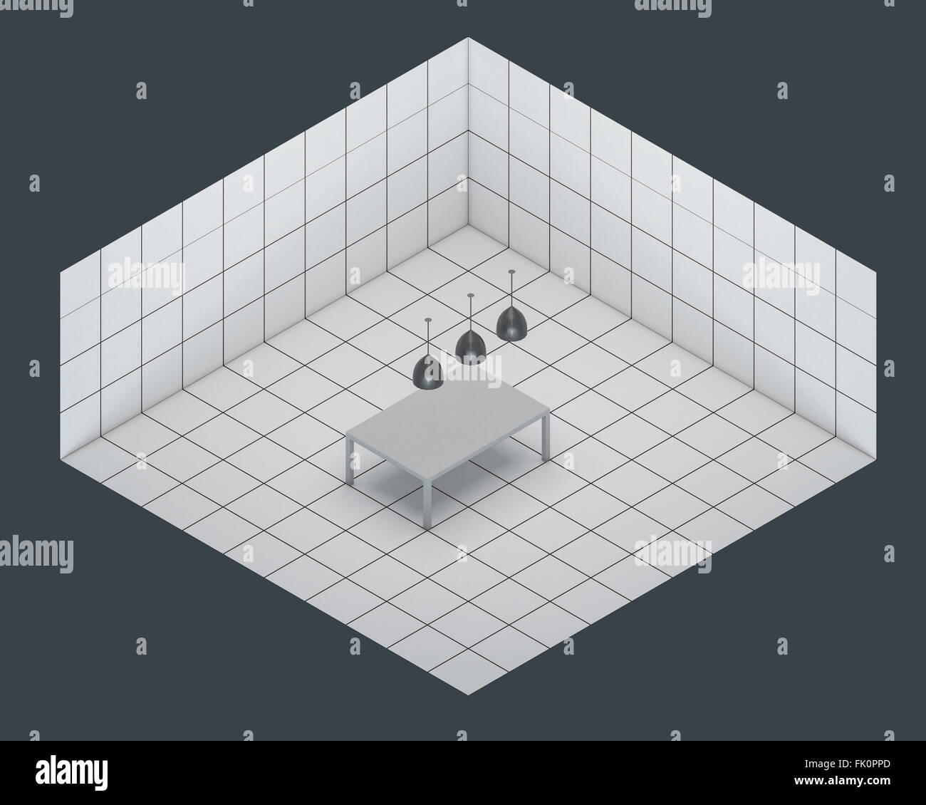 table in empty white room isometric render - Stock Image
