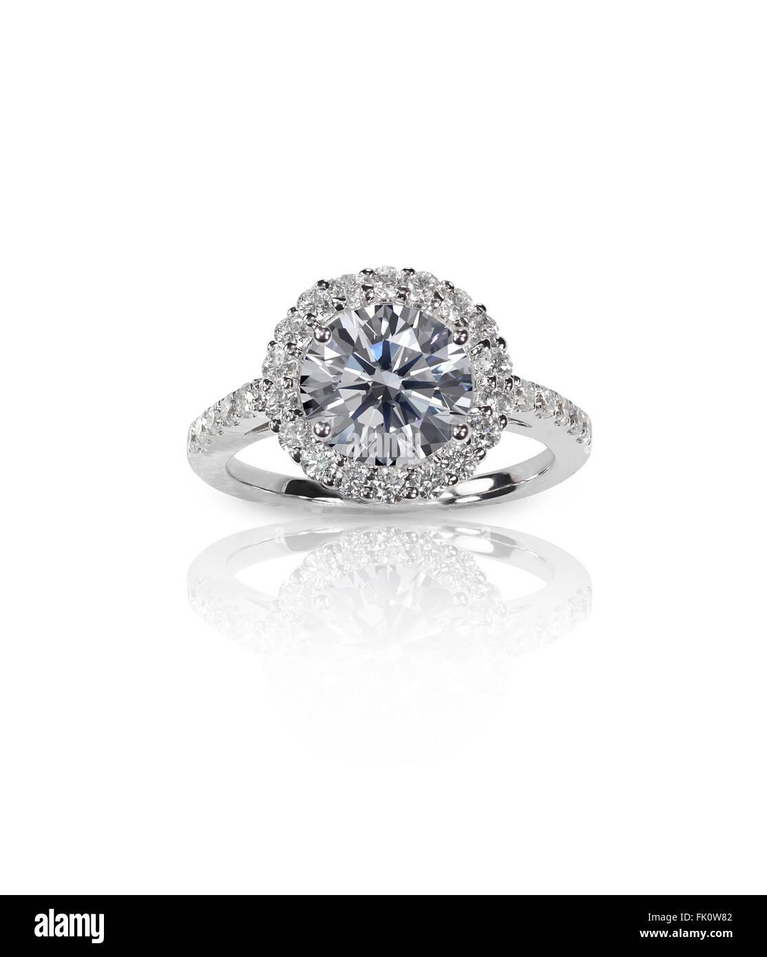 Beautiful Diamond Engagemnt Solitair Wedding band Ring - Stock Image