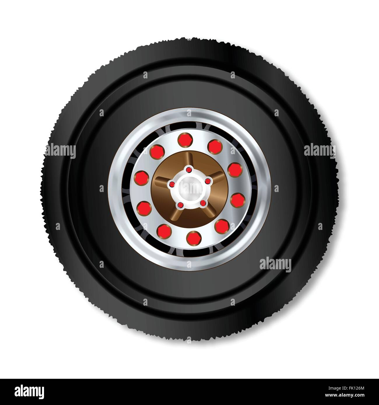 The wheel ov a large truck over a white background - Stock Vector