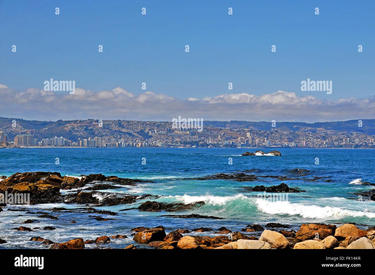 Pacific ocean coastline with in background Vina del Mar and Valparaiso Chile Stock Photo