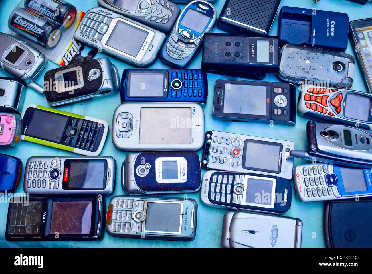 Used smartphones and mobile phones to sell in a market Stock