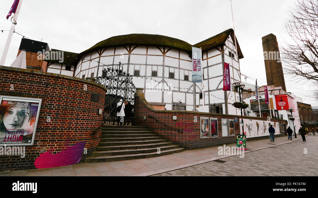 London - March 3, 2016: Outside view of Shakespeare's Globe Theatre,Southwark London, since 1997, designed by - Stock Image
