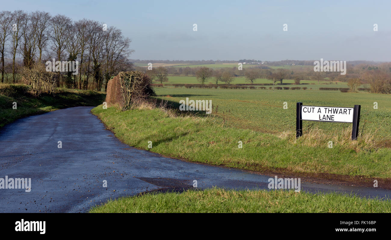 Amusing road name on Essex country byroad - Stock Image