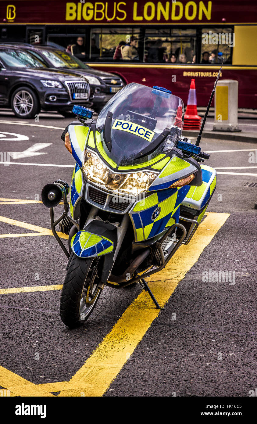 London, UK. Metropolitan Police Motorcycle parked on a junction Stock Photo