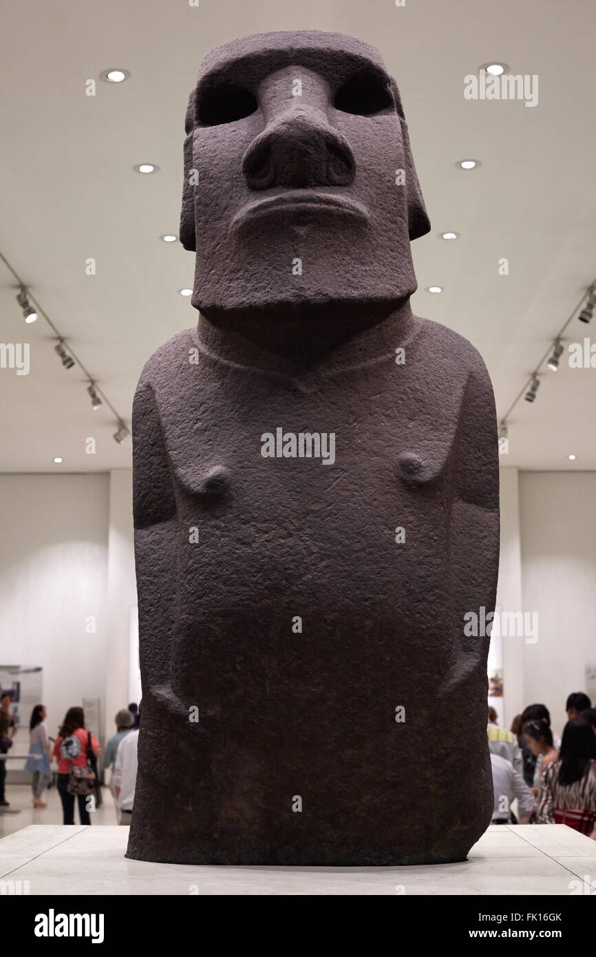 British Museum Moai statue from Easter Island in London - Stock Image