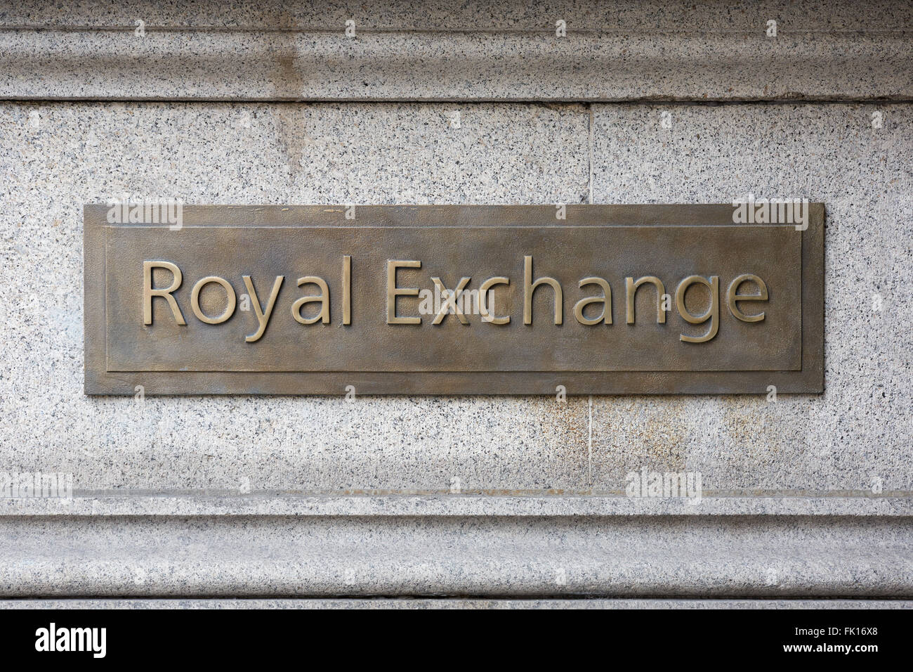 Royal Exchange sign plaque in the City of London - Stock Image