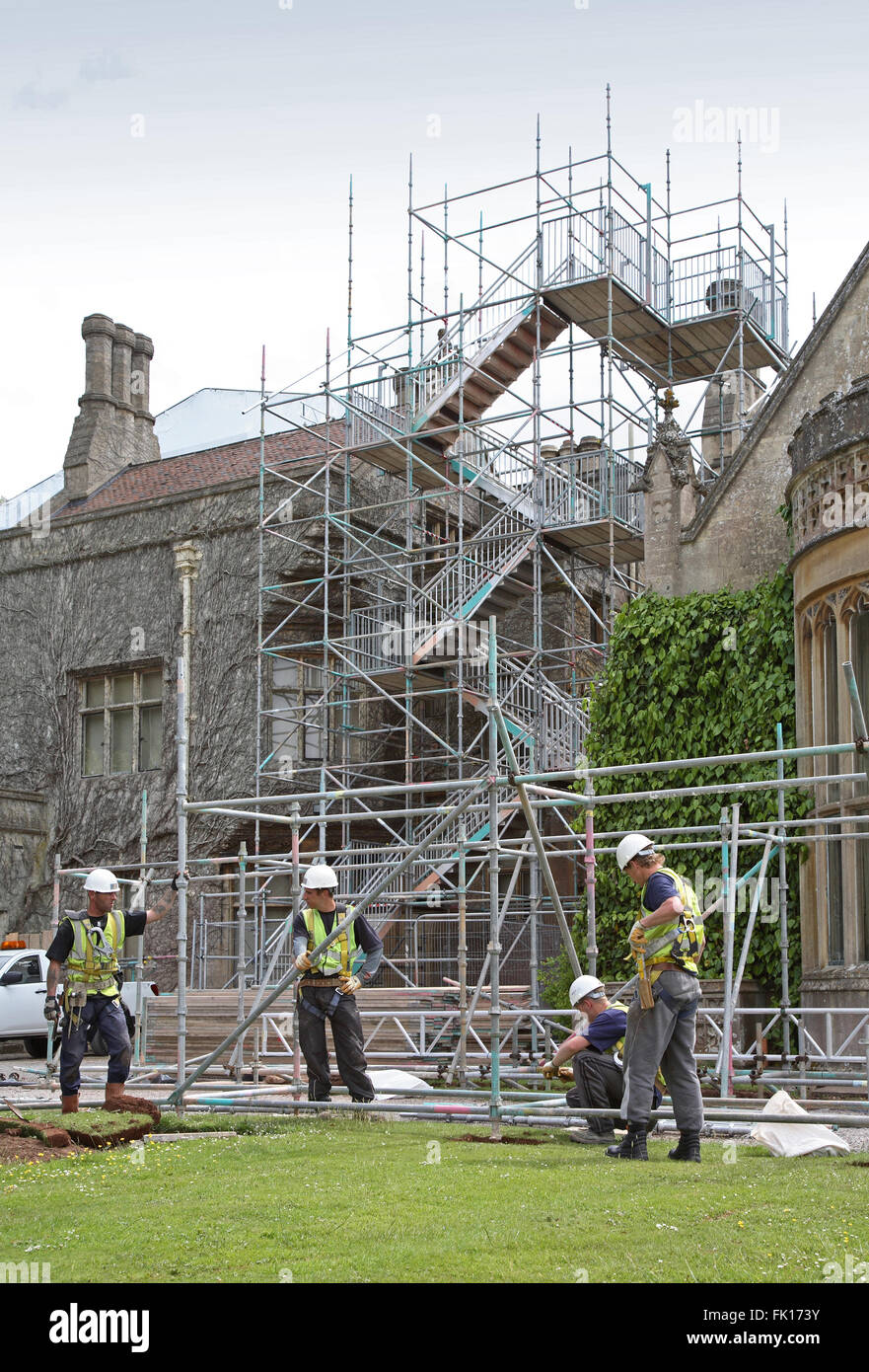 Scaffolders working at Tyntesfield House, a National Trust owned stately home near Bristol - Stock Image