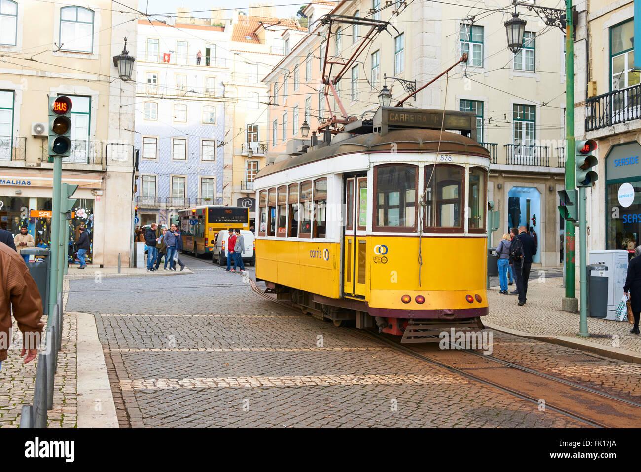 Yellow Tram in Lisbon, Portugal, Europe Stock Photo