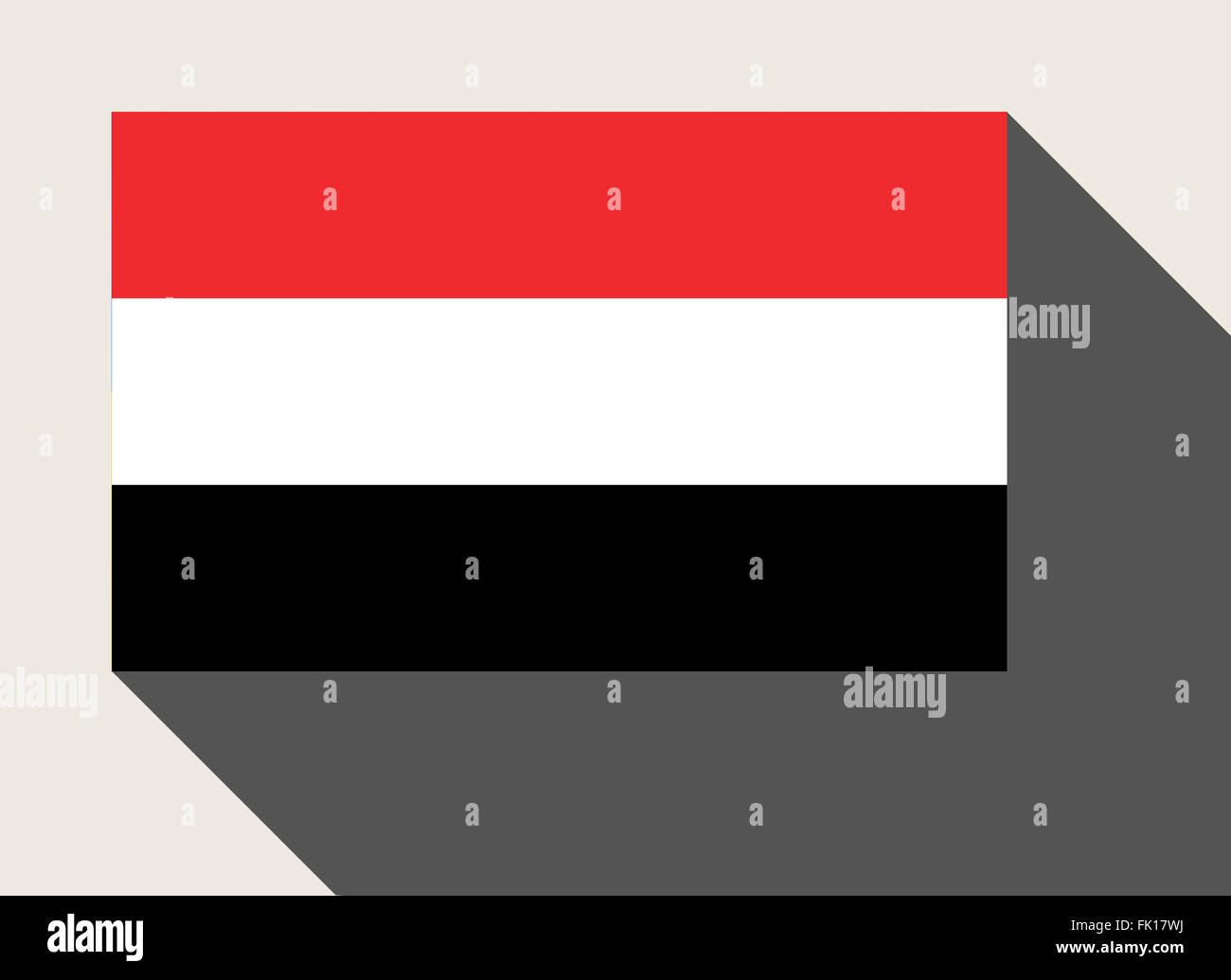 Yemen flag in flat web design style. - Stock Image