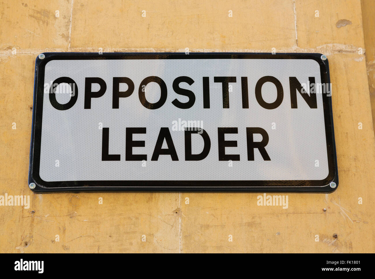Parking place sign for the Maltese Parliament Opposition Leader, Valletta Malta - Stock Image
