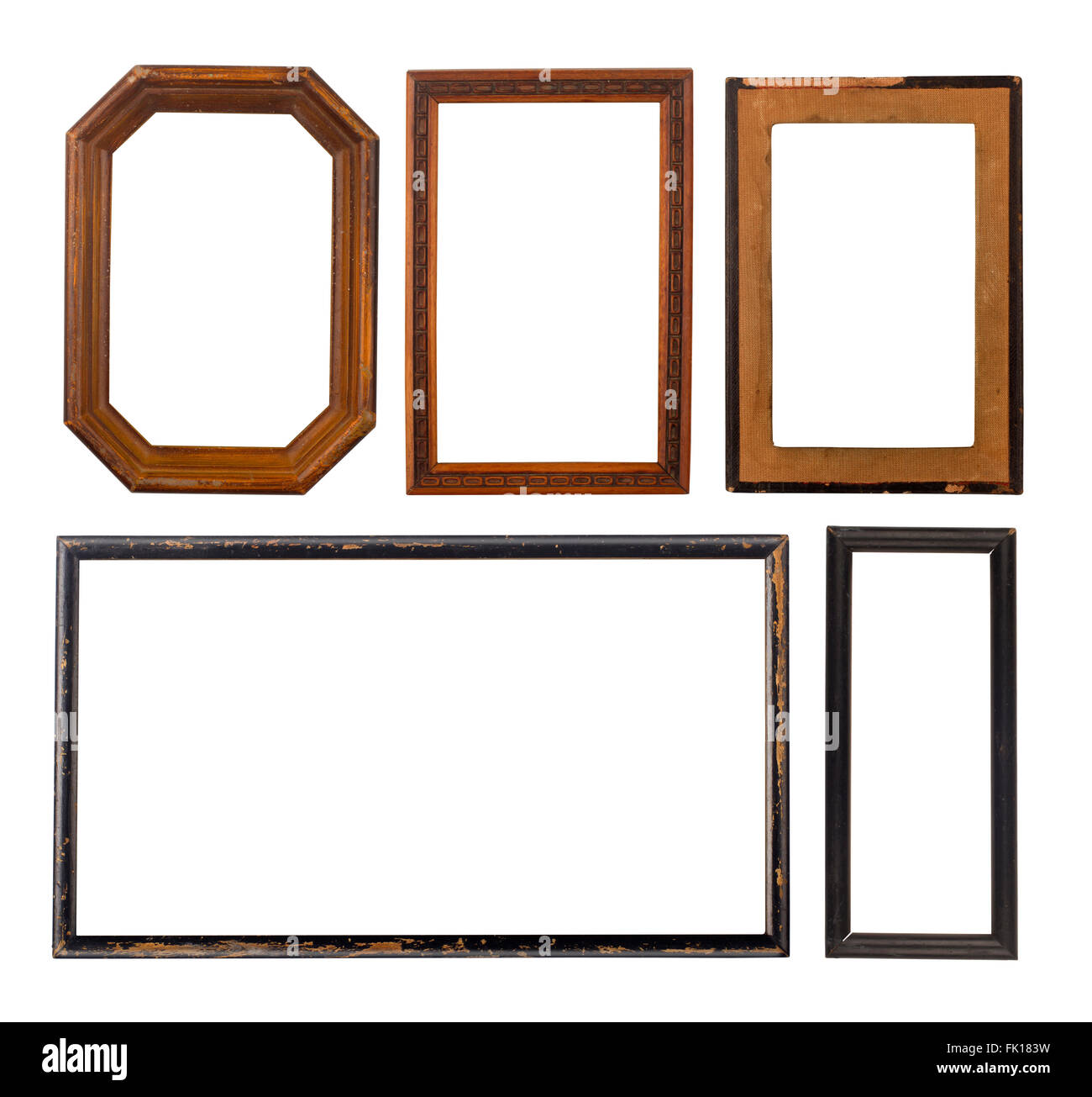 Set of five old wooden frames isolated on white Stock Photo ...