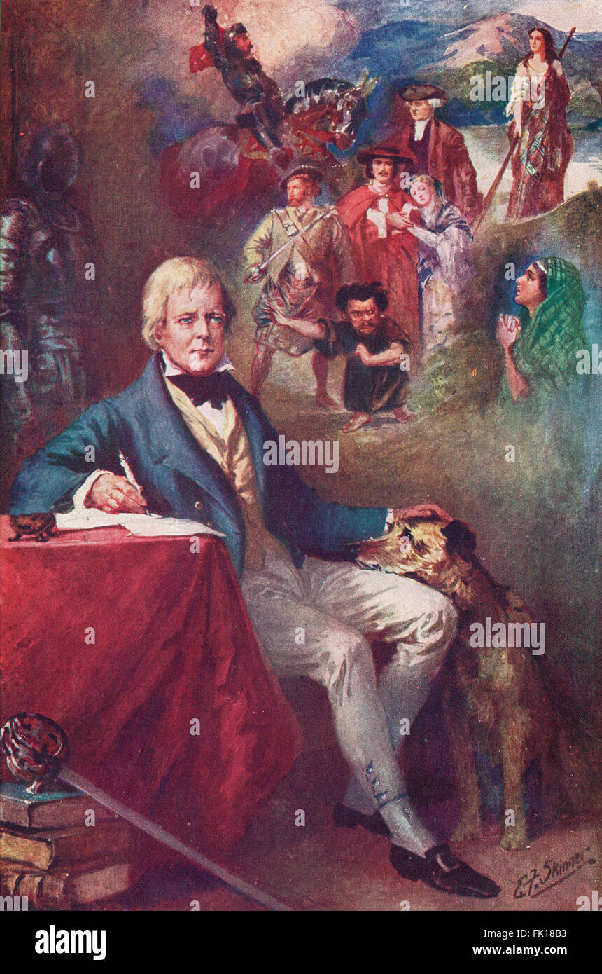 Sir Walter Scott & some of his most famous creations - Stock Image