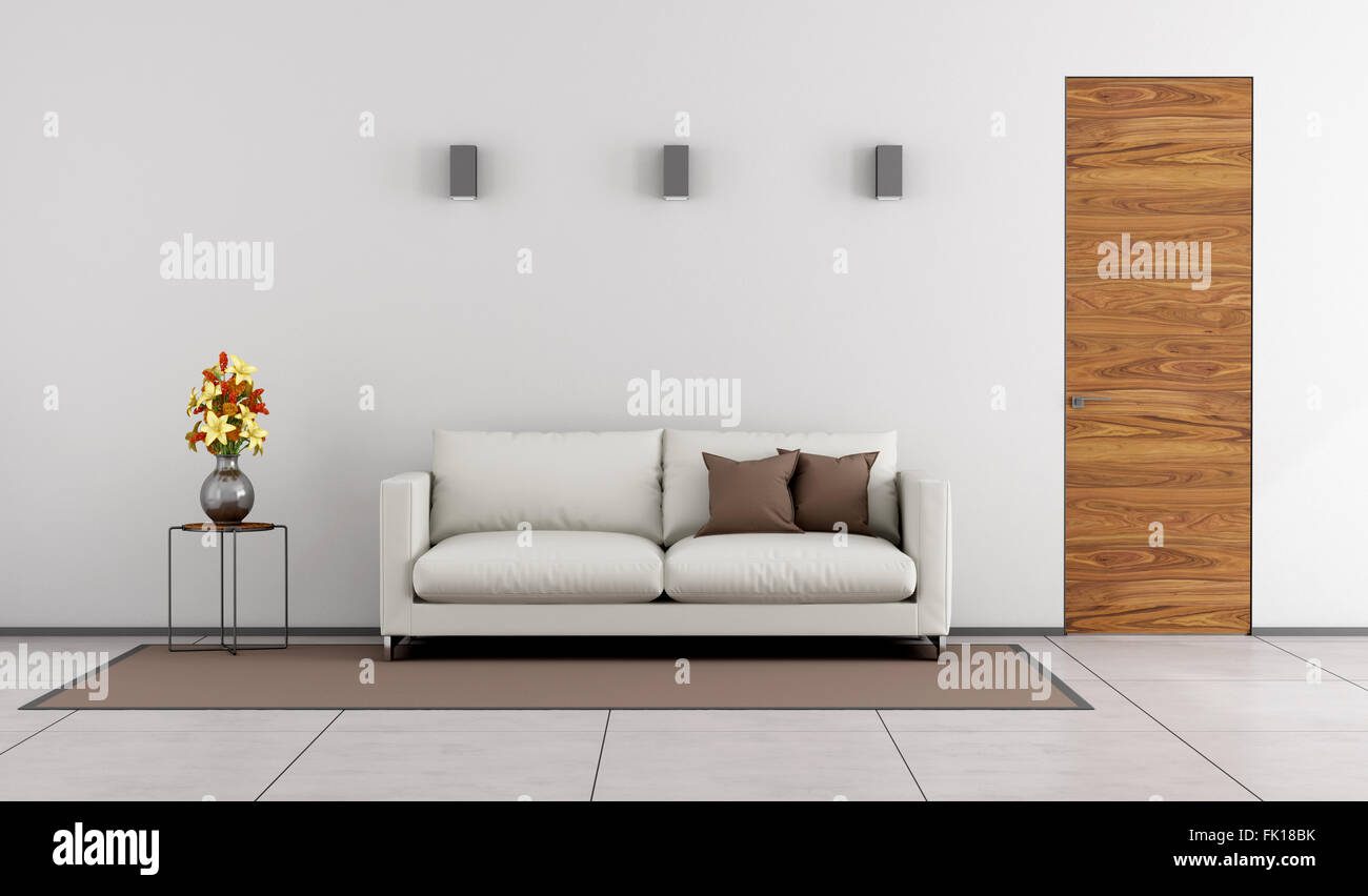 Wondrous Minimalist Living Room With Wooden Door And White Sofa On Unemploymentrelief Wooden Chair Designs For Living Room Unemploymentrelieforg