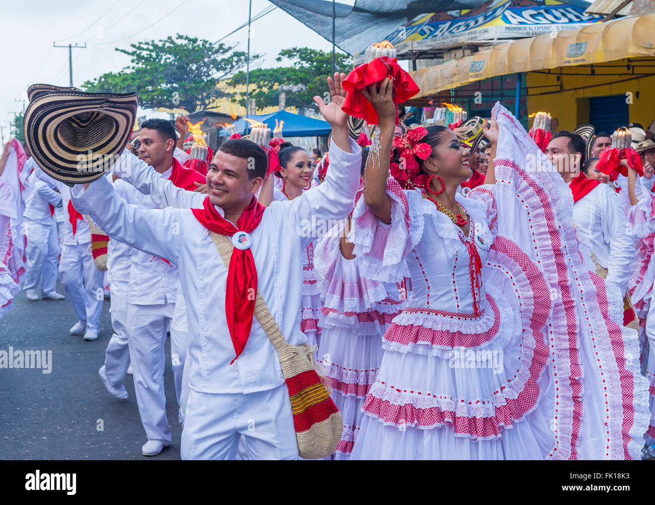 Participants in the Barranquilla Carnival in Barranquilla , Colombia - Stock Image