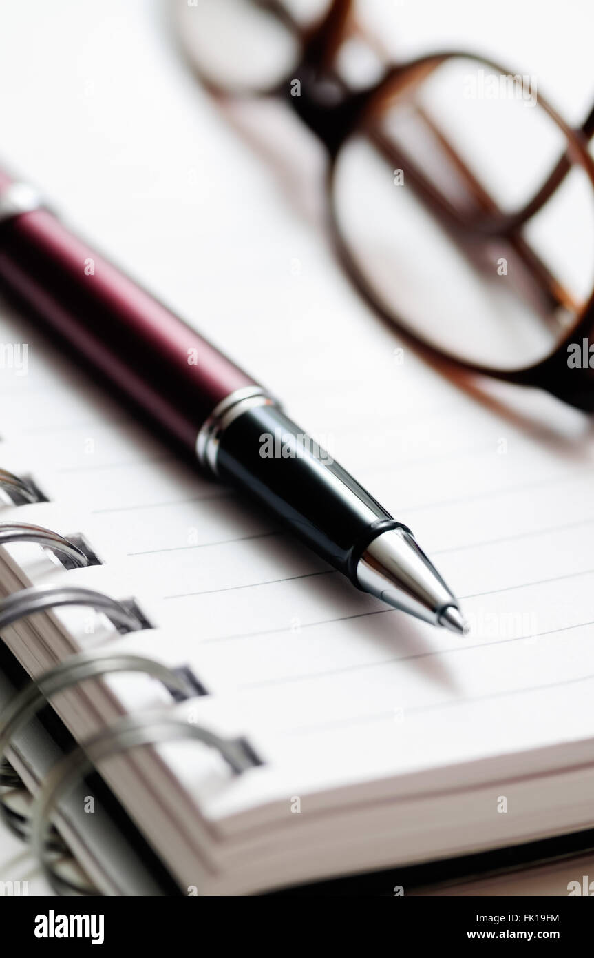 Ballpoint pen and prescription eyeglasses on lined spiral notebook paper - Stock Image