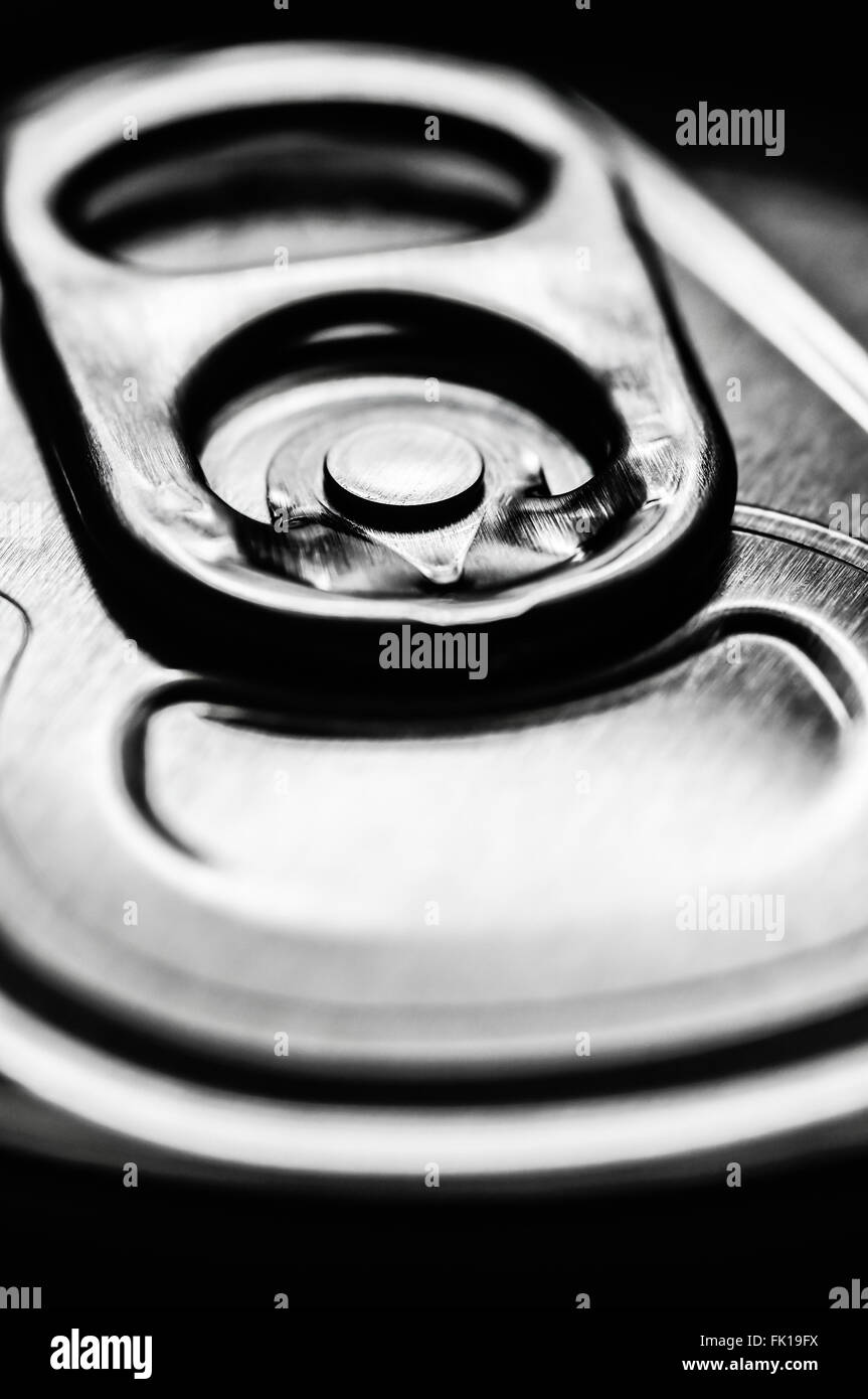 Silver aluminum soda pop can top ring pull tab Stock Photo