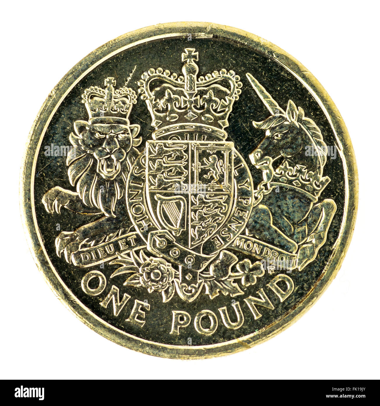 British one pound coin - Stock Image