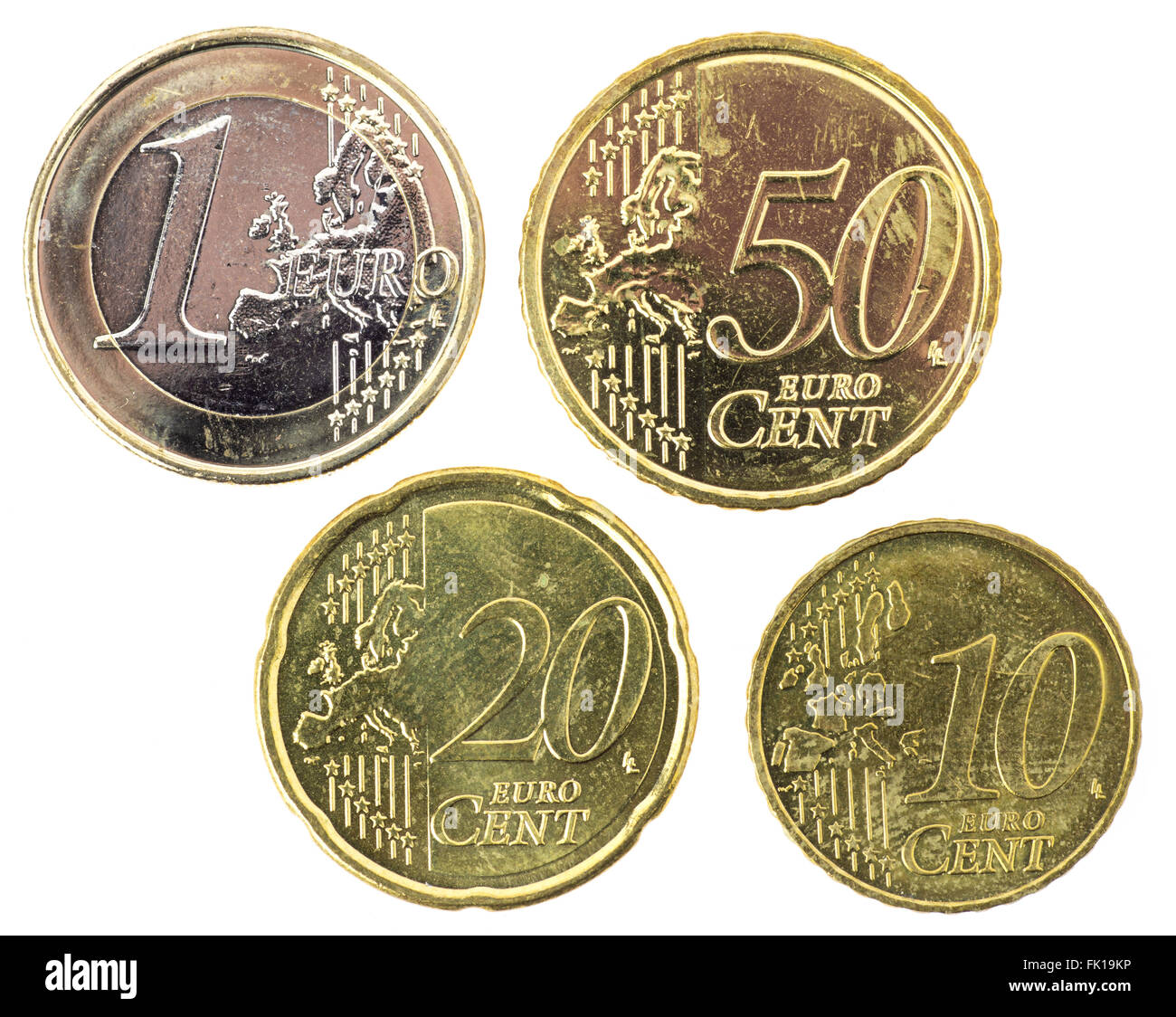 Euro Coins One Euro Fifty Cents Twenty Cents Ten Cents Stock