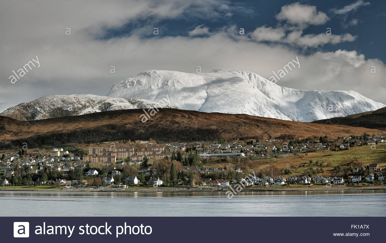Ben Nevis and the town of Fort William from Trislaig. Stock Photo