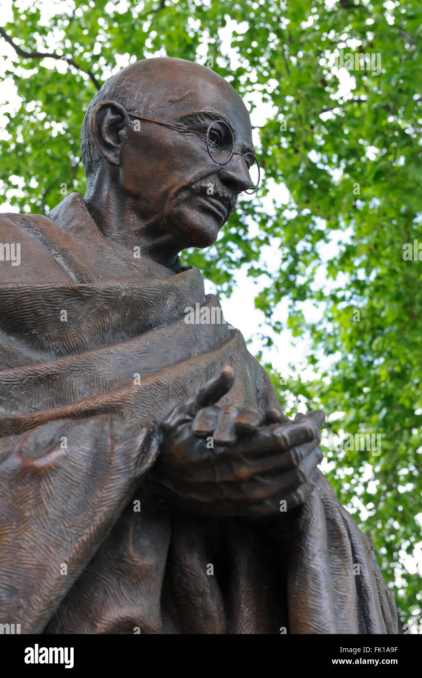 The statue of Mahatma Gandhi in Parliament Square, is a work by the sculptor Philip Jackson, London, United Kingdom. - Stock Image