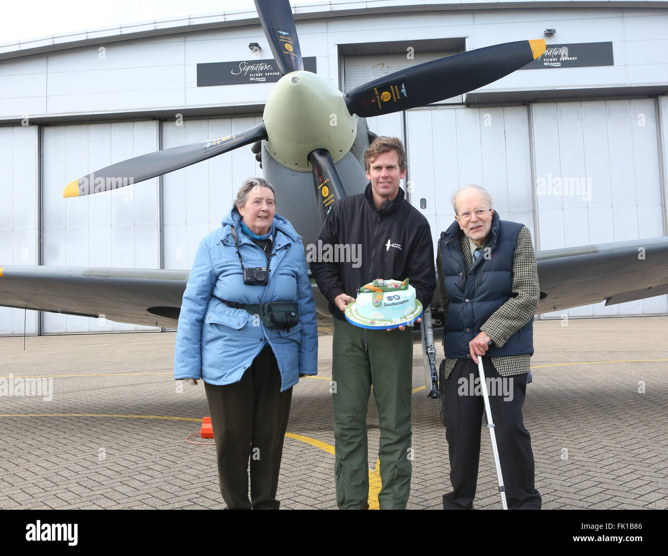 Southampton, Hampshire, UK. 5th March, 2016. GV at Southampton Airport A flypast to mark the 80th anniversary of - Stock Image