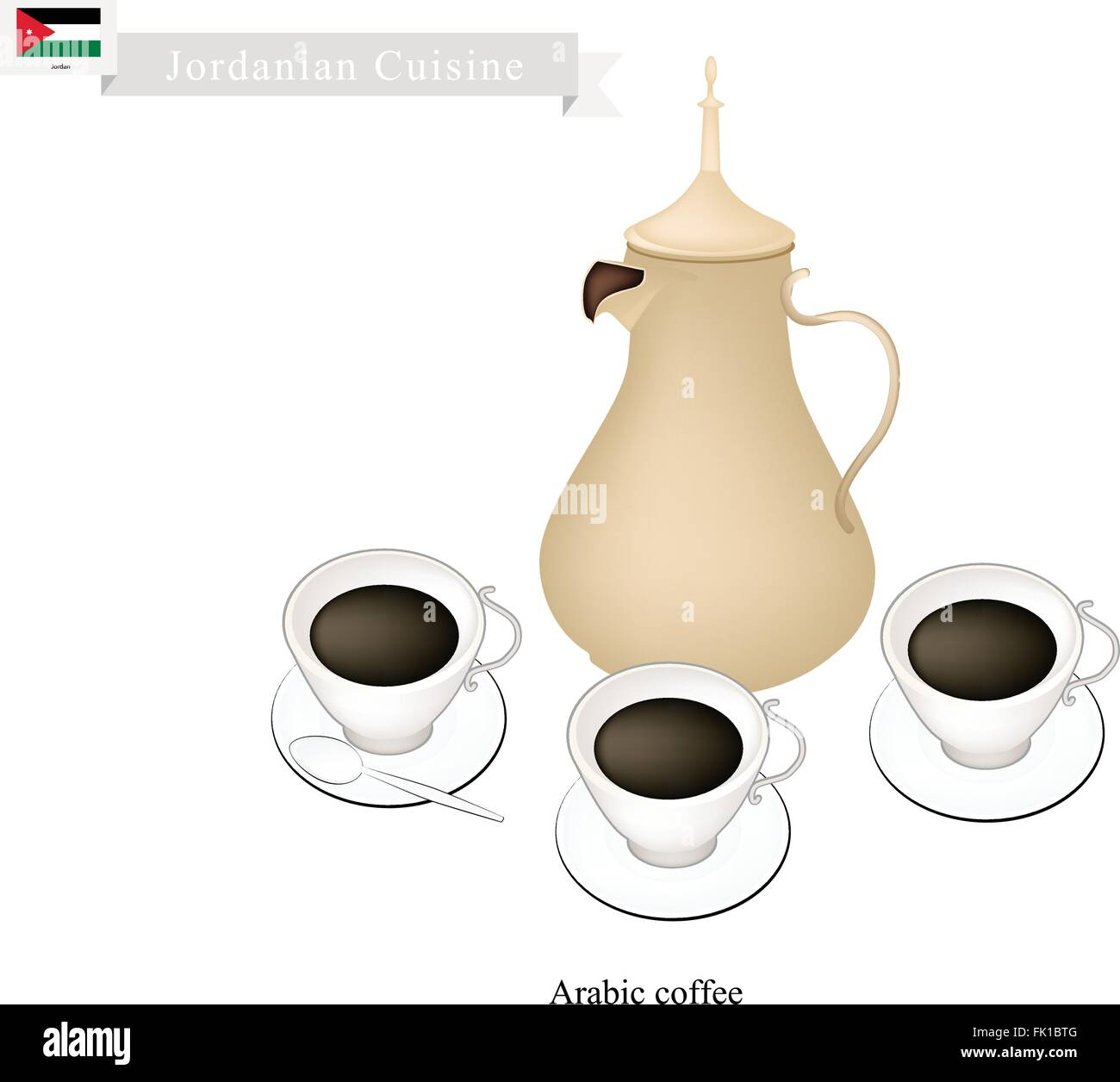 Jordanian Cuisine, Arabic Coffee or Coffee Brewed from Dark Roast Coffee Beans Spiced with Cardamom. One of The - Stock Vector