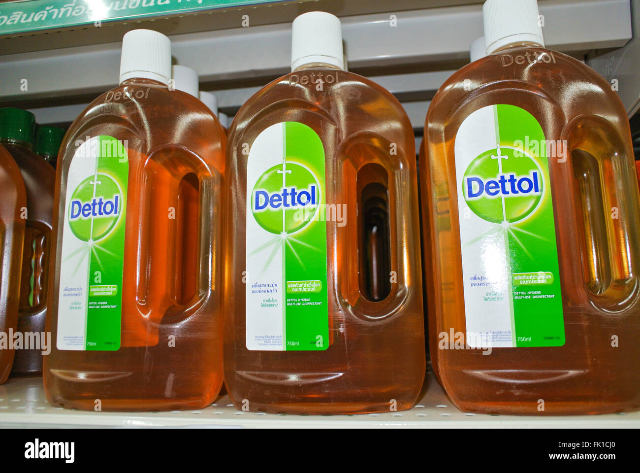 Dettol disinfectant bottles - Stock Image
