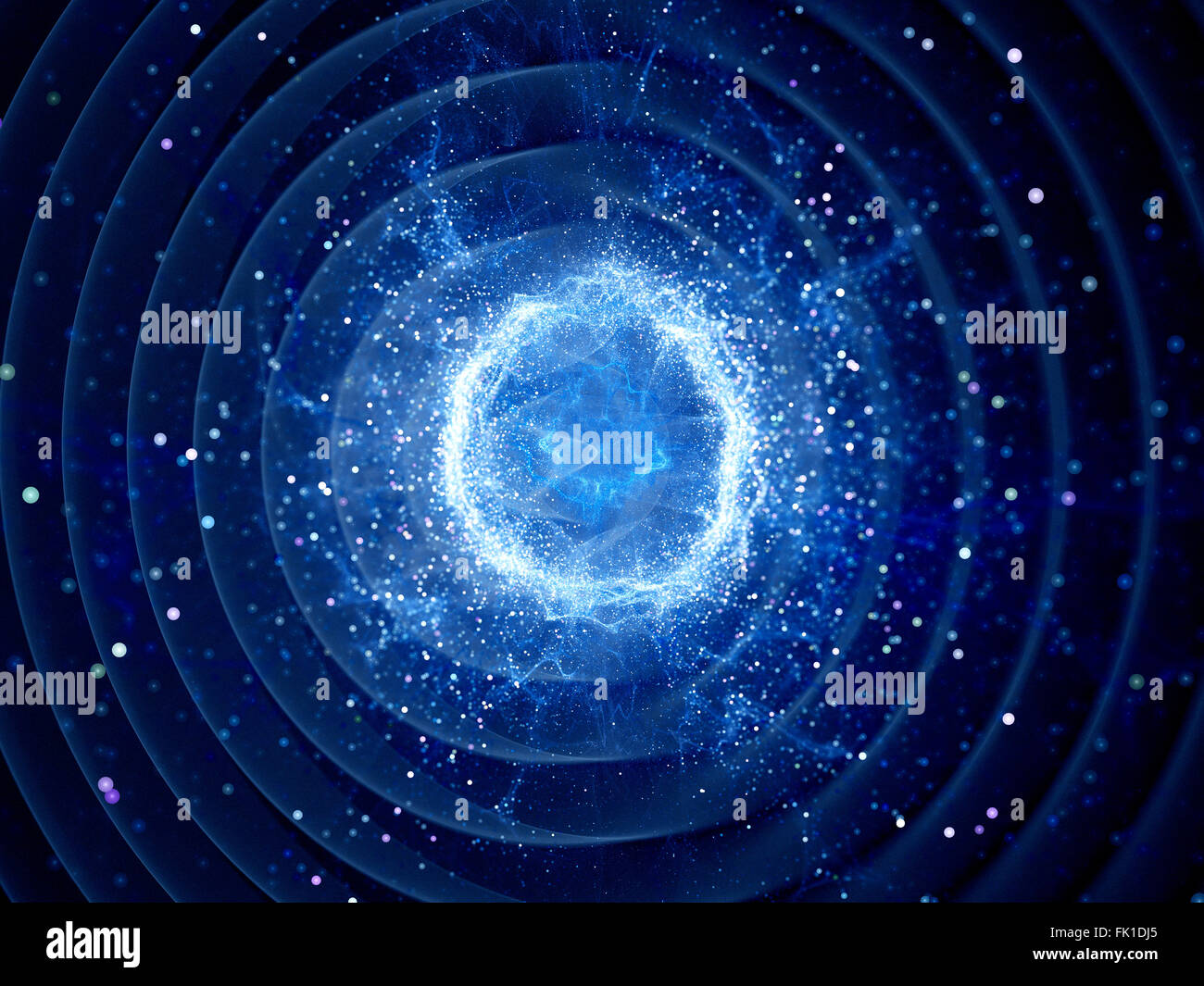 Gravitaional wave burst by strong force field, computer generated abstract background - Stock Image