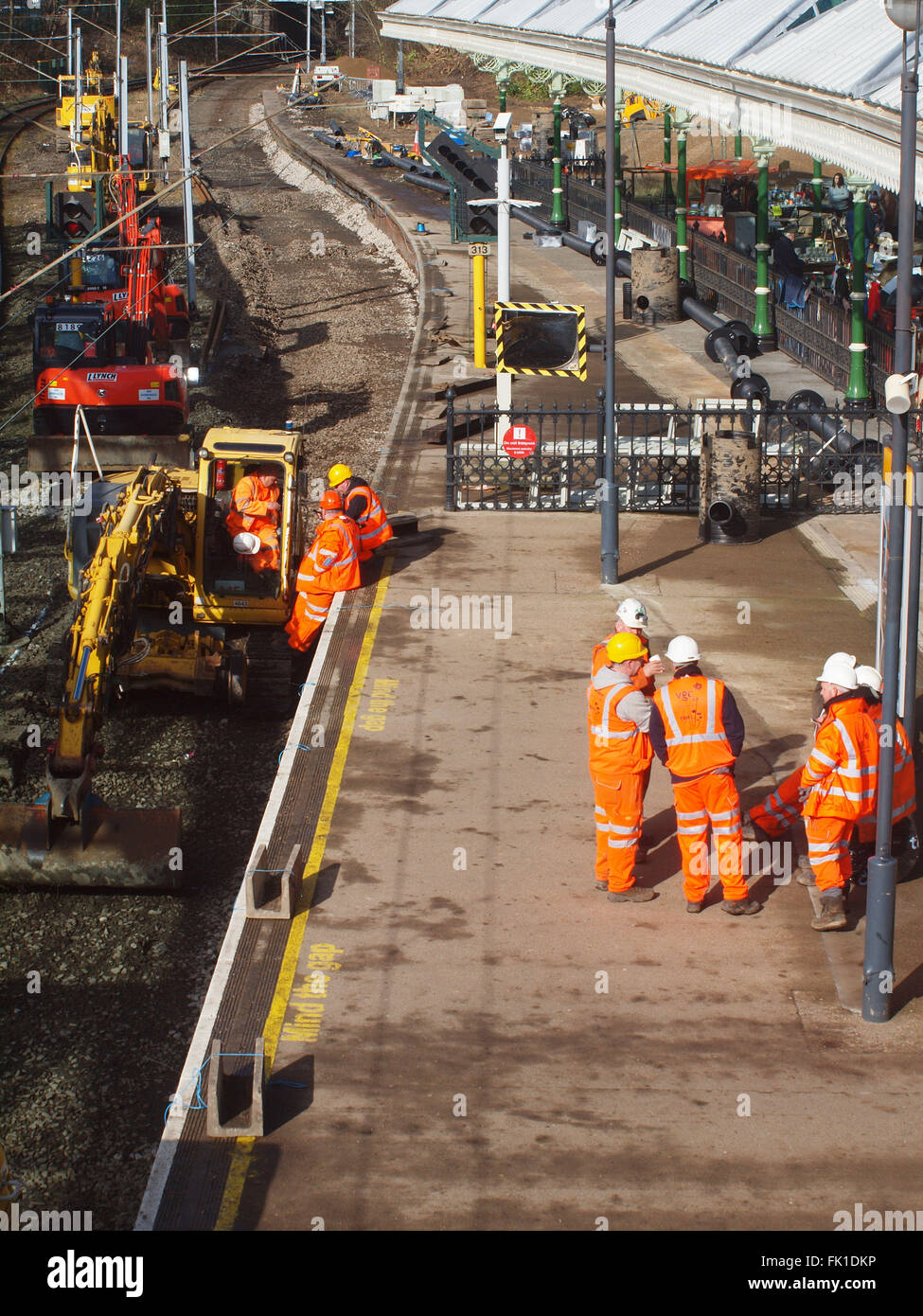 Newcastle Upon Tyne, Saturday 5th March 2016, Uk News. Sub contractors replacing railway tracks, ballast and drainage - Stock Image