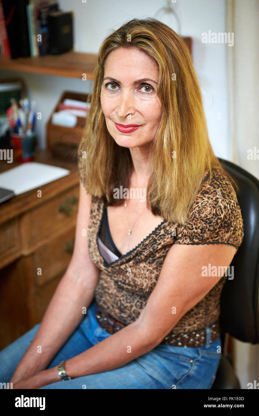 Author Valerie Blumenthal pictured in her home - Stock Image