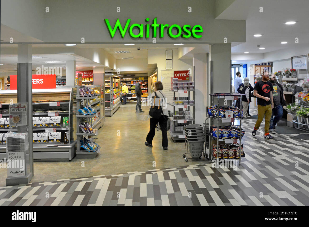 Waitrose supermarket interior view of a small store in the Fleet Welcome Break motorway service station on the M3 motorway in Hampshire England UK Stock Photo