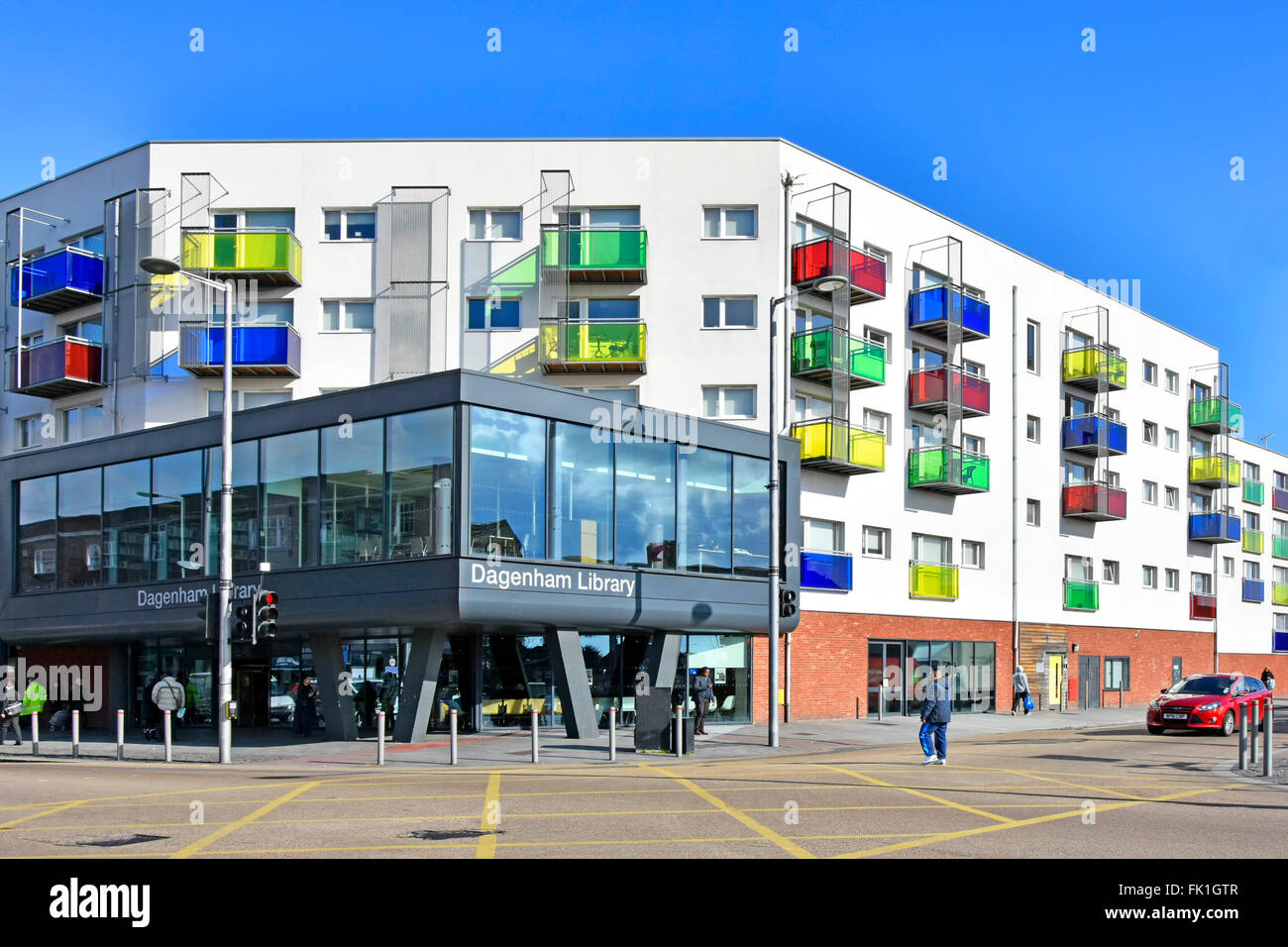 Becontree Estate new modern council public library built in a partnership development of 82 new homes in apartment - Stock Image