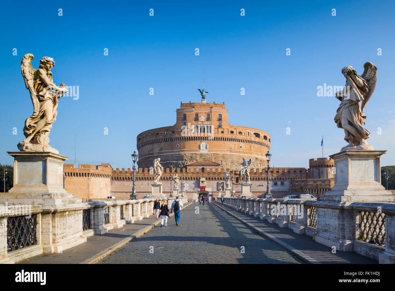 Rome, Italy.  Looking across Ponte Sant'Angelo to Castel Sant'Angelo - Stock Image