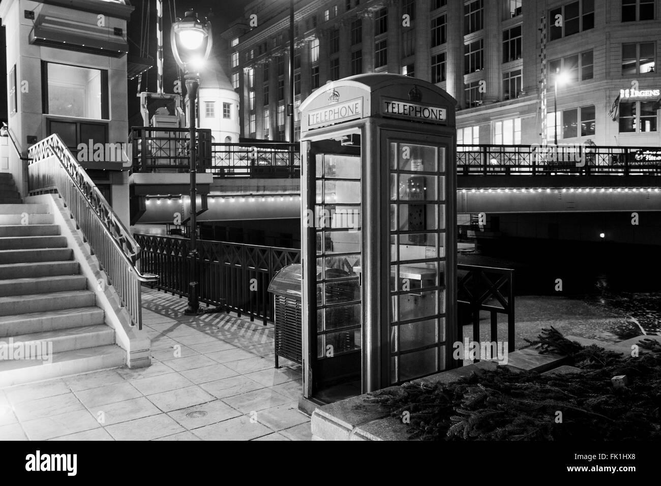 London telephone booth night black white stock image